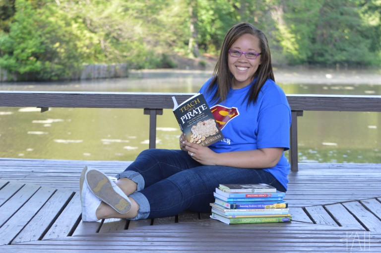 Christina with one of her favorite teaching books.