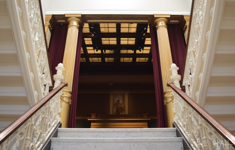 my favorite part of the Telfair Museum: a massive room with 30-foot ceilings and gold columns. yes, those are marble stairs leading up to it. (Oct. 15th)